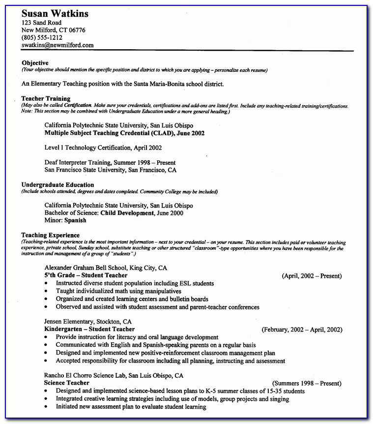 Teacher Example Resume Resume Cv Cover Letter. Resumes Samples For Pertaining To Student Teaching Resume Samples