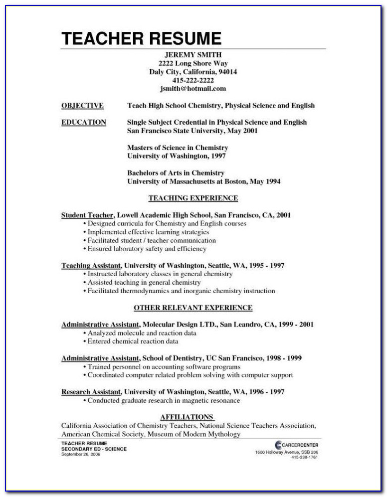 Resume For Substitute Teacher With No Experience Substitute Inside Teacher Resume With No Experience