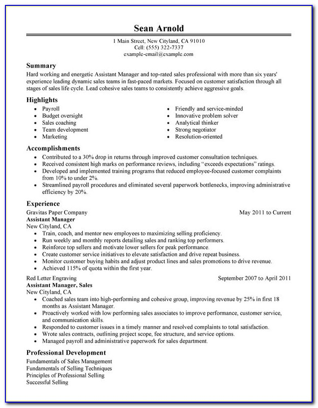 Resume Format For Assistant Manager Hr