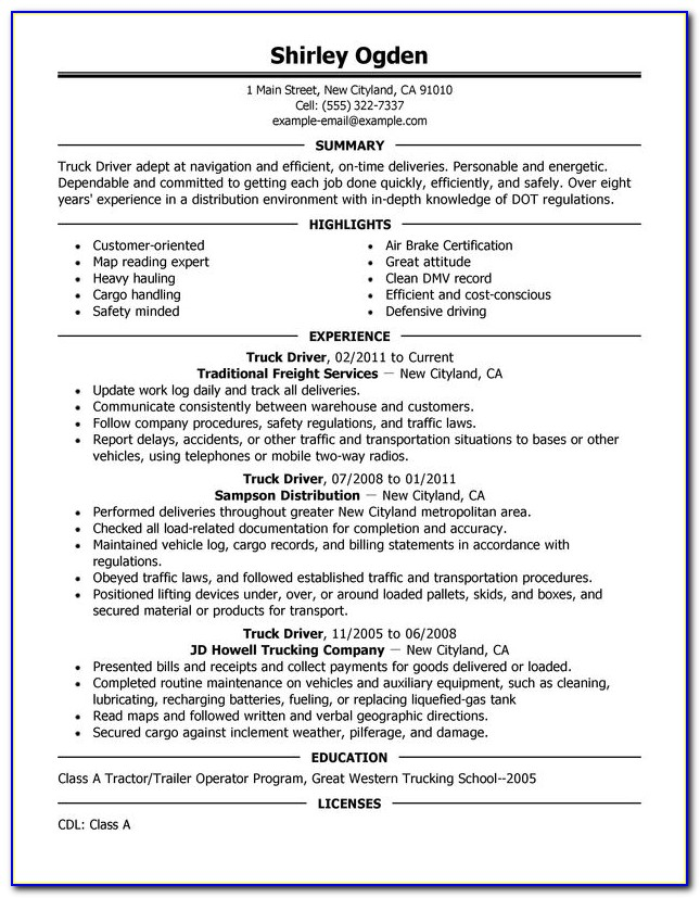 Resume Format For Driving Job