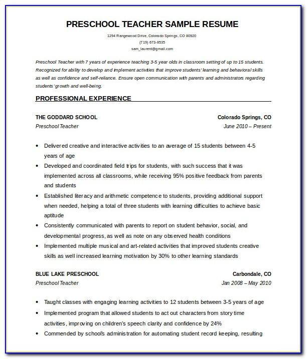 Resume Format For Fresher Teachers In Word Format