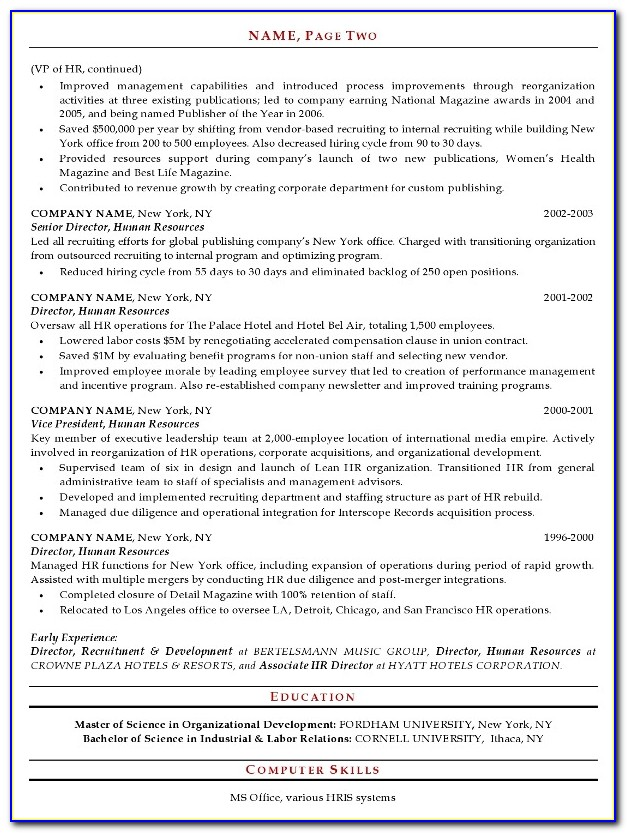 Resume Format For Hr Executive Fresher
