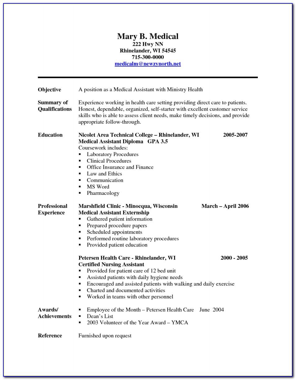 Resume Format For Medical Assistant