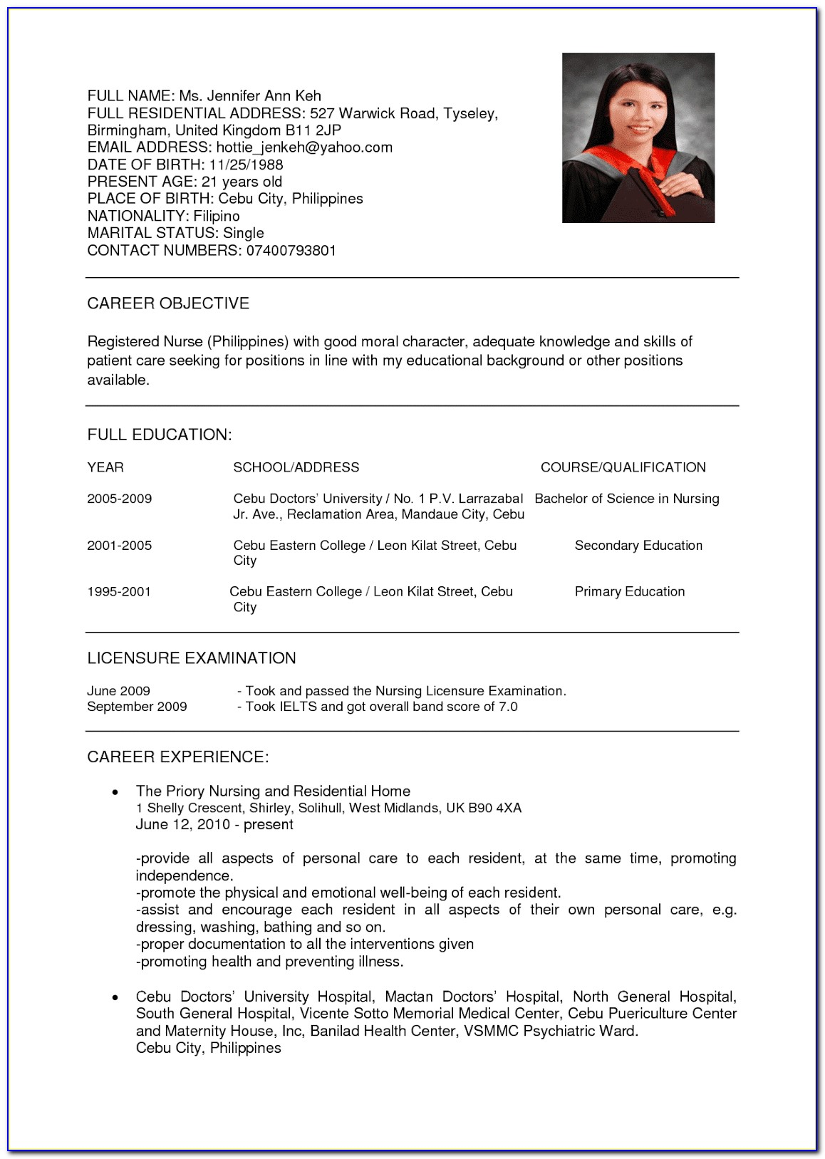 Resume Format For Nurses In Canada