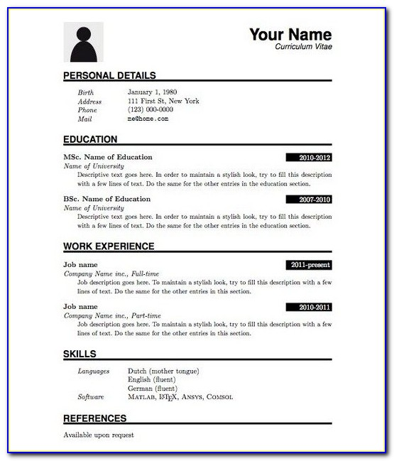 Resume Format For Tcs Pdf Free Download