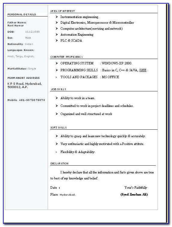 Latest Resume Format Download Resume Format Free Download In Ms With Regard To Resume Format For Freshers Free Download Latest In Word