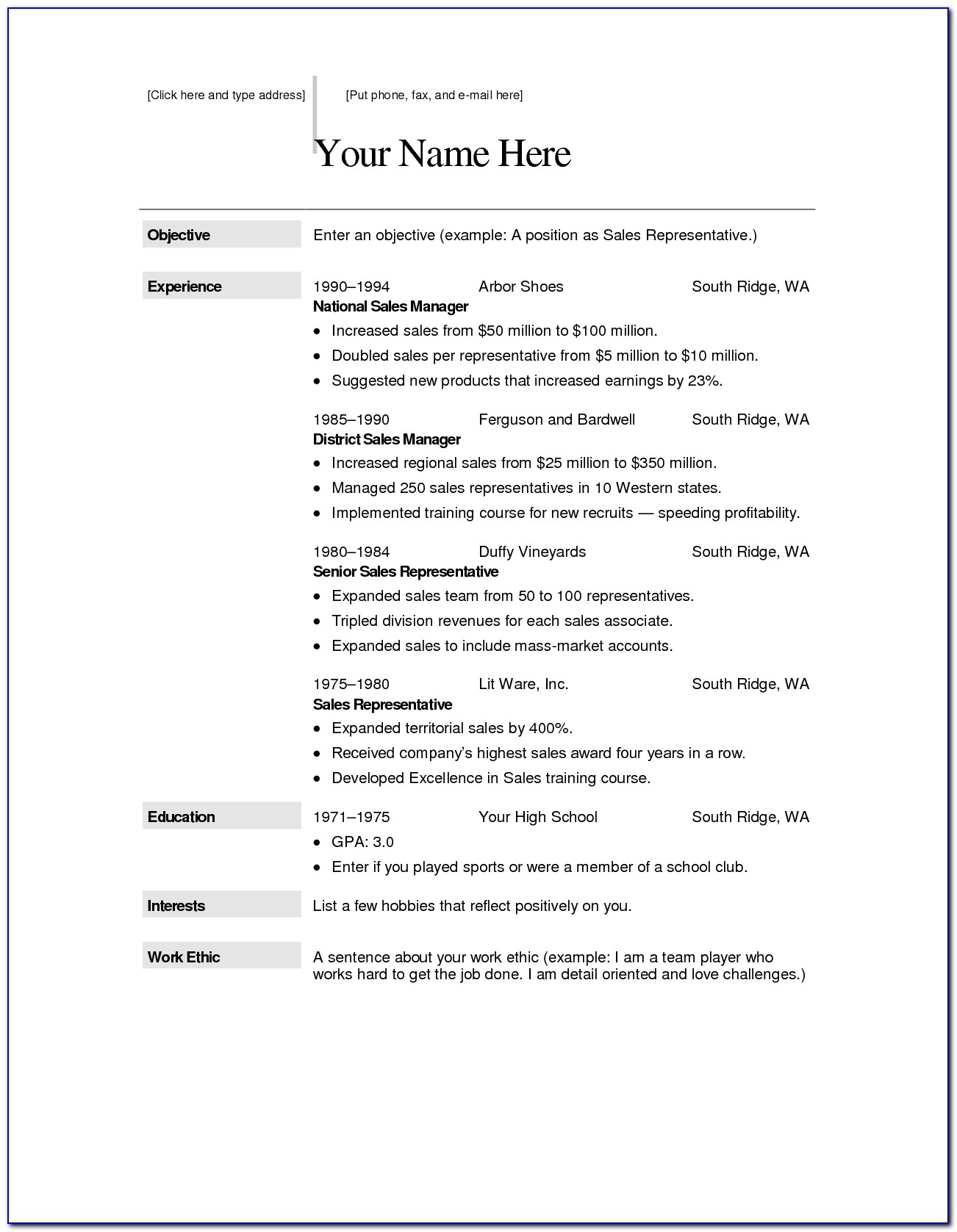 Resume Format Ms Word Free Download
