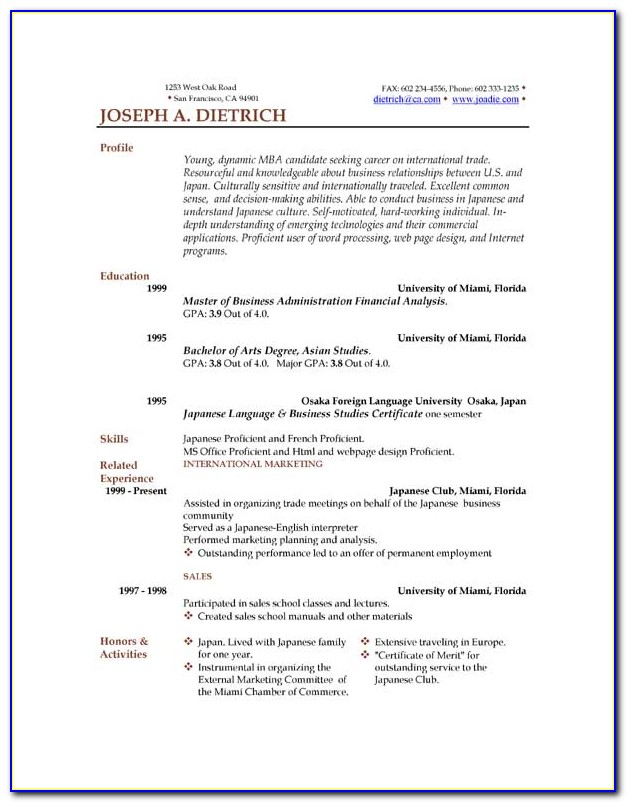Resume Format Word Download Free