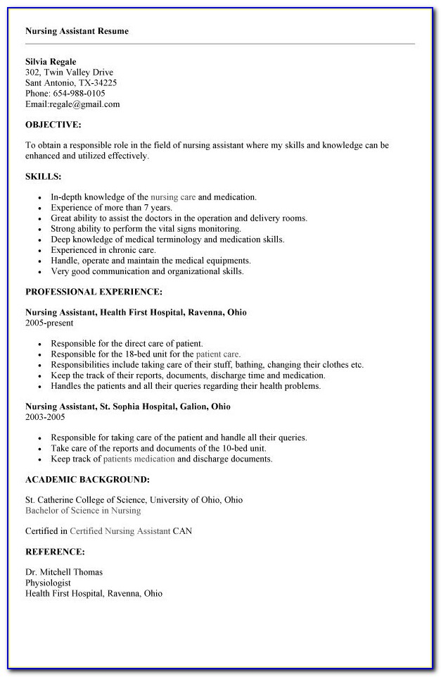 Cna Resume No Experience | Template Design With Regard To Cna Resume No Experience Template