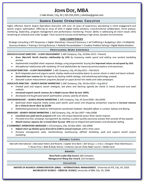 Search Engine Optimization Resume Example Seo Operations Resume Search Engines Resume Search Engines