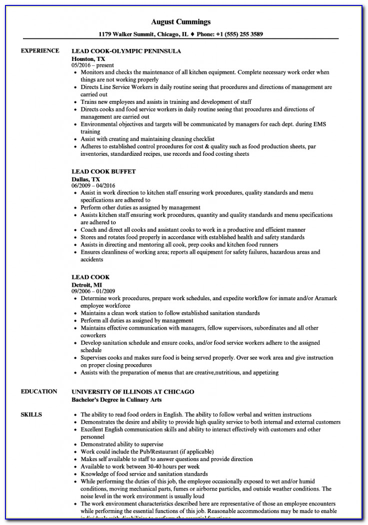 Resume Objective Examples For Cooks