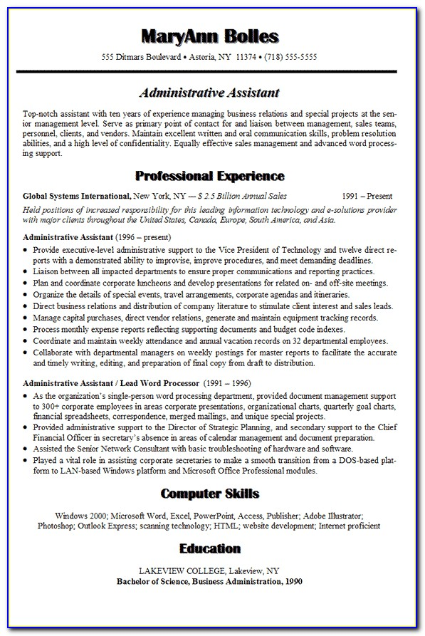 Resume Objective Examples For Executive Assistant