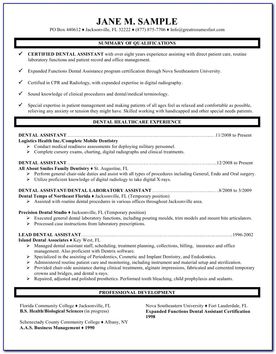 Resume Objective For Dental Assistant