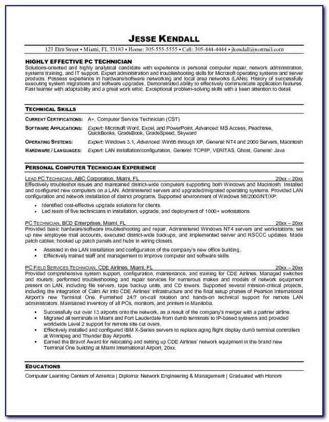 Sample Resume For Technician Computer For Computer Technician Resume Sample