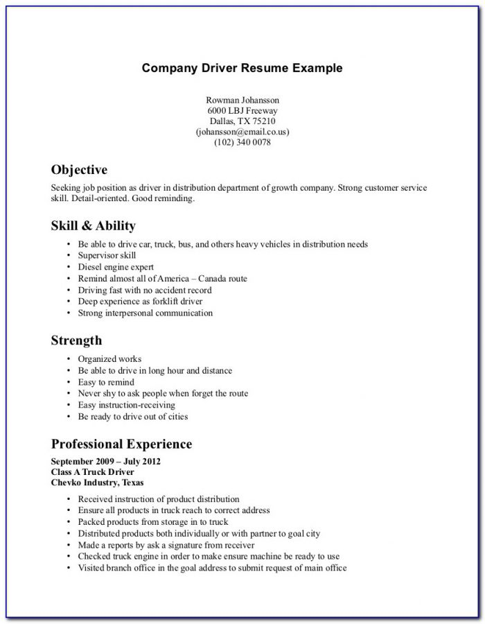 Resume Objectives For Truck Driving Jobs