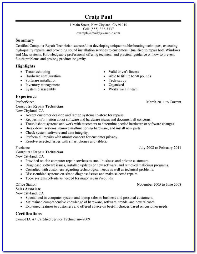 Resume Of Computer Technician