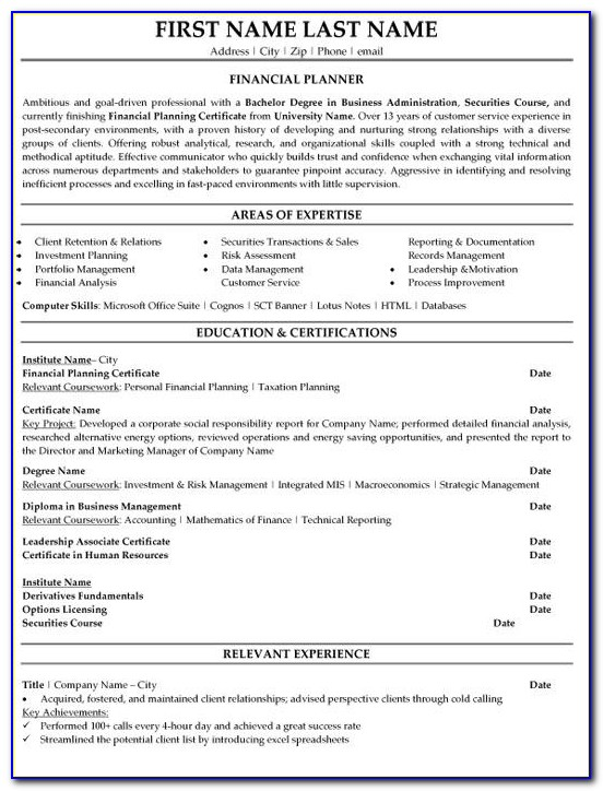 Financial Advisor Resume | Template Design Intended For Financial Advisor Resume Sample