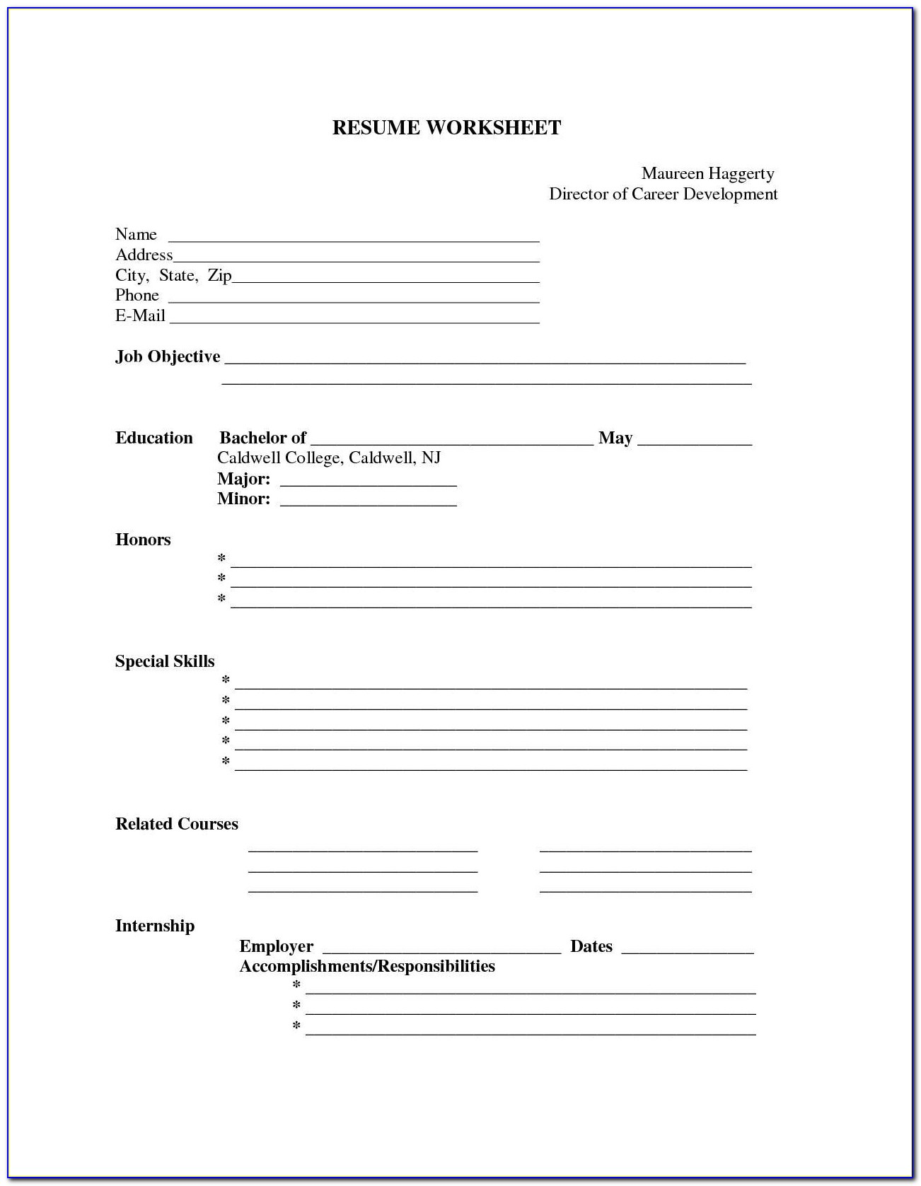 Resume Sample Blank Form