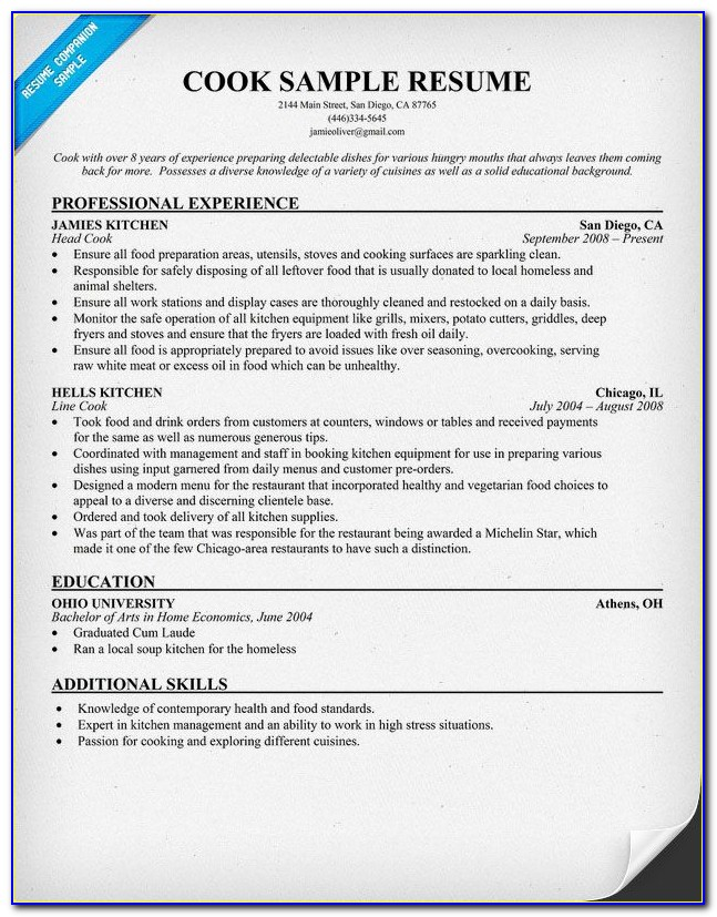Resume Sample For Chef Assistant