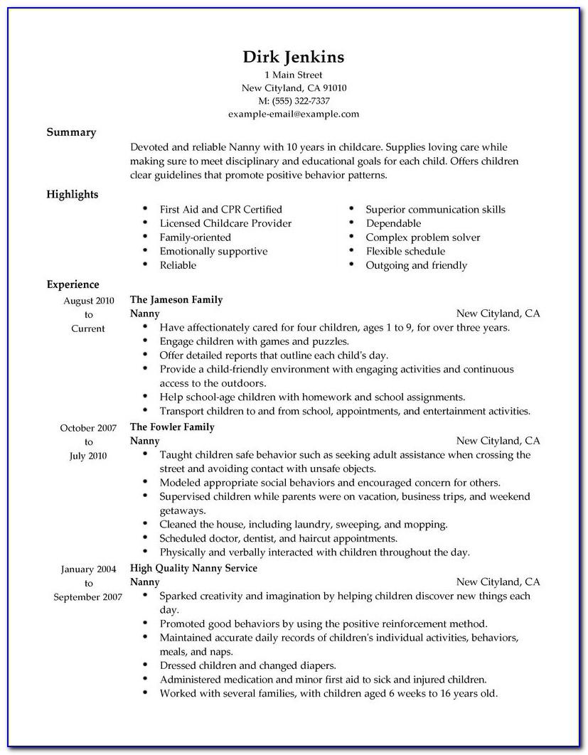 Resume Sample For Nanny Position