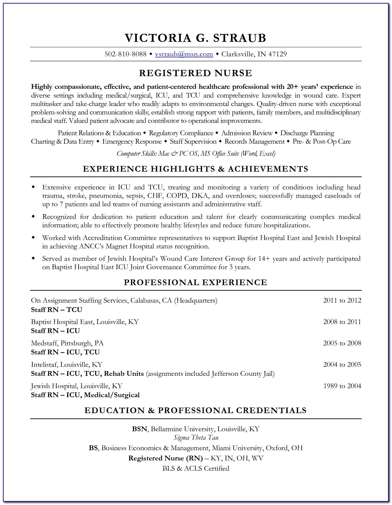 Resume Sample For Nurses Fresh Graduate