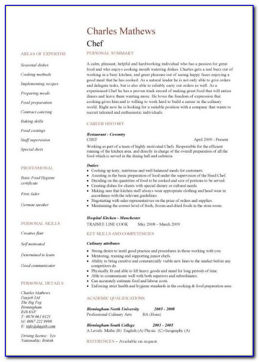 Resume Sample For Chef Cook - Resume : Resume Examples ...