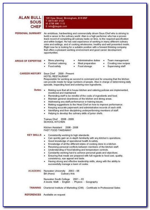 Resume Sample For Sous Chef
