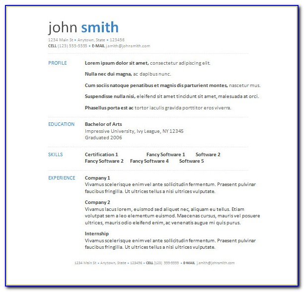 Resume Sample Word Format Free Download