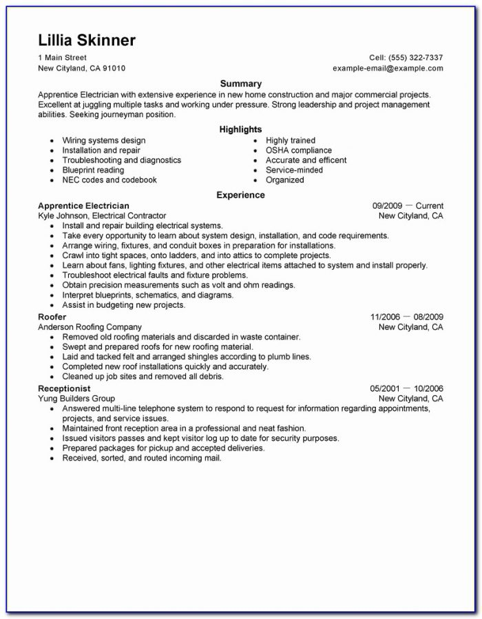 For Resume Template For Electrician
