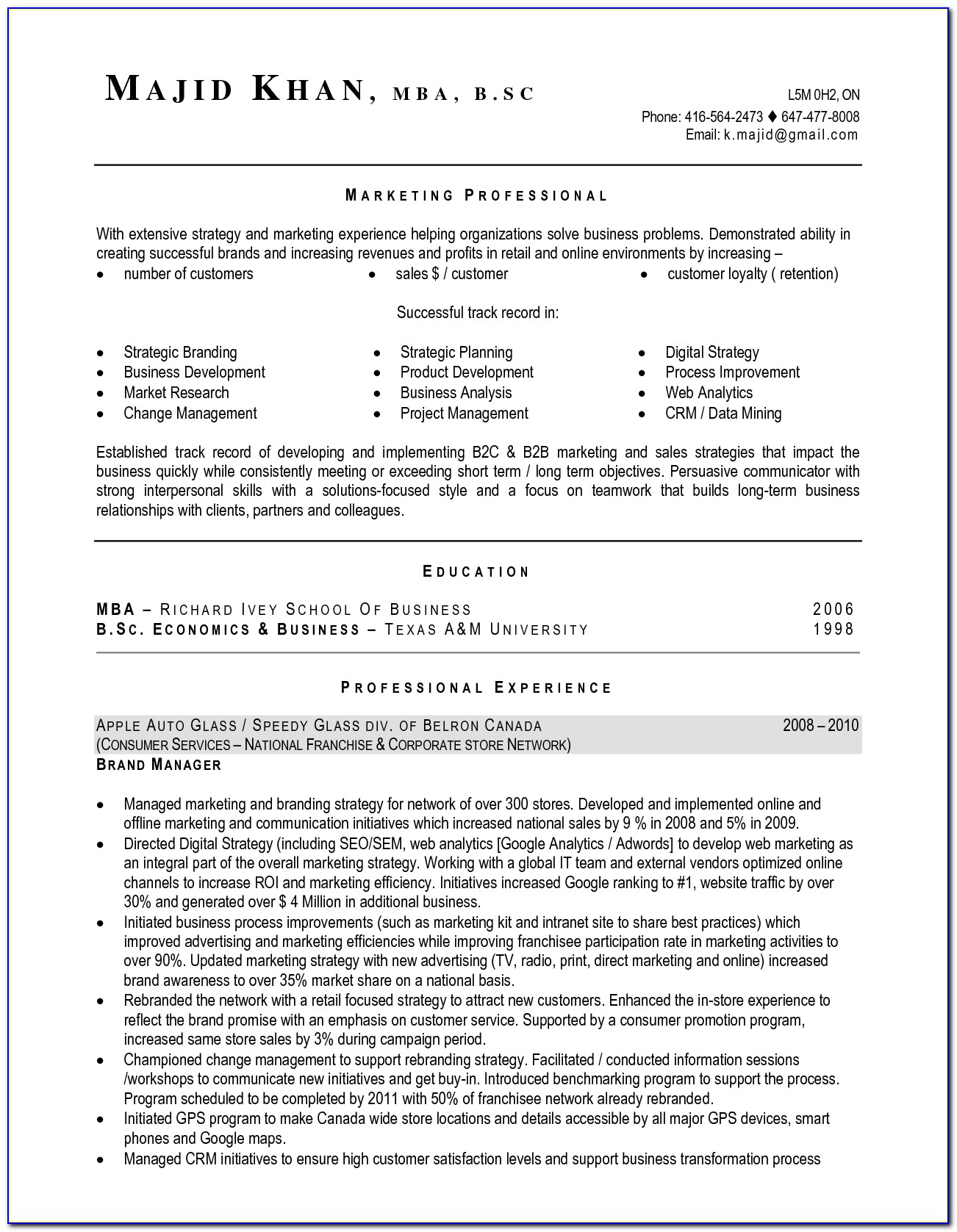 Resume Template Canada Word