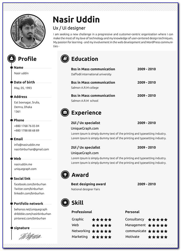 Resume Template Editable Free