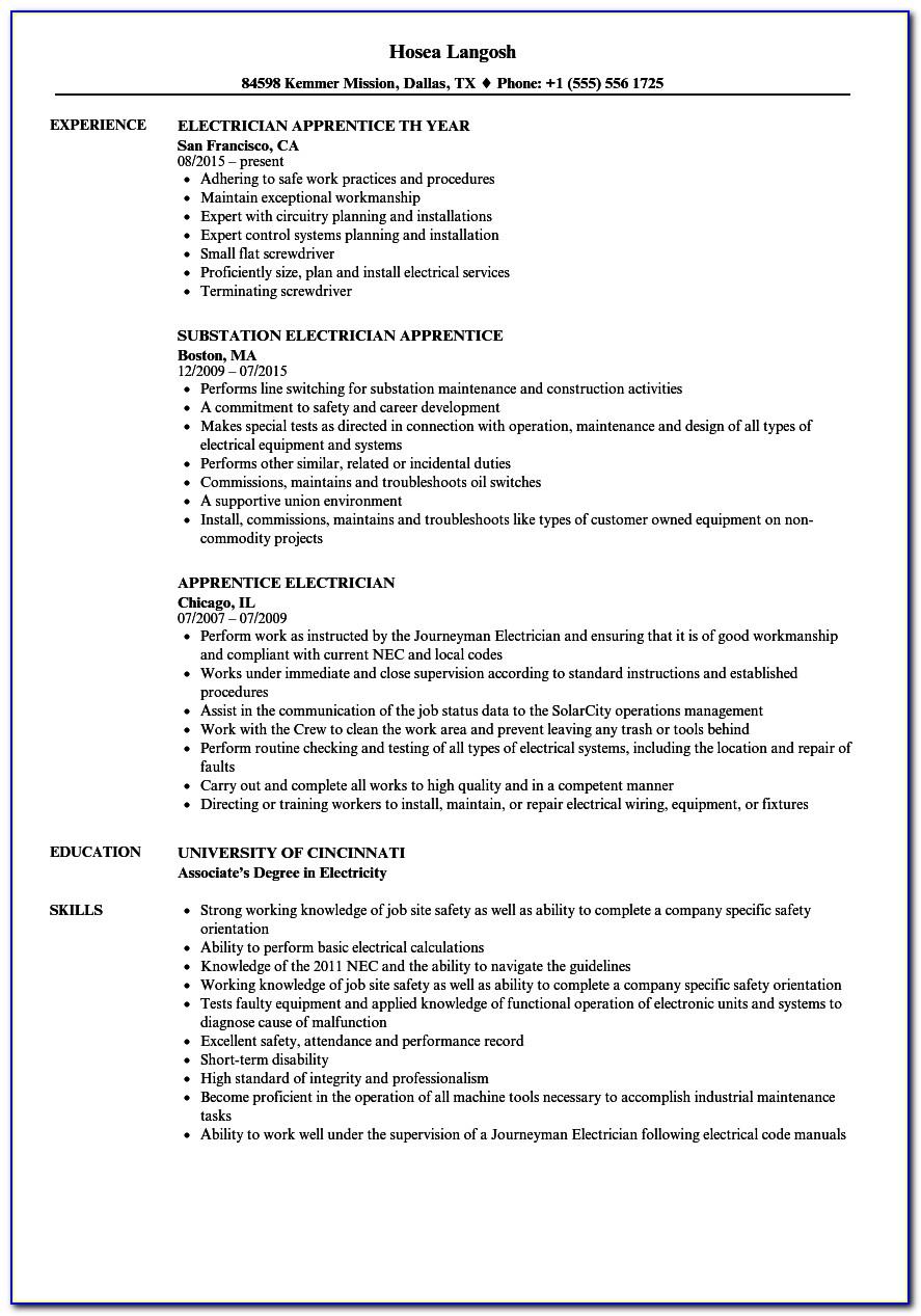 Resume Template Electrician Technician