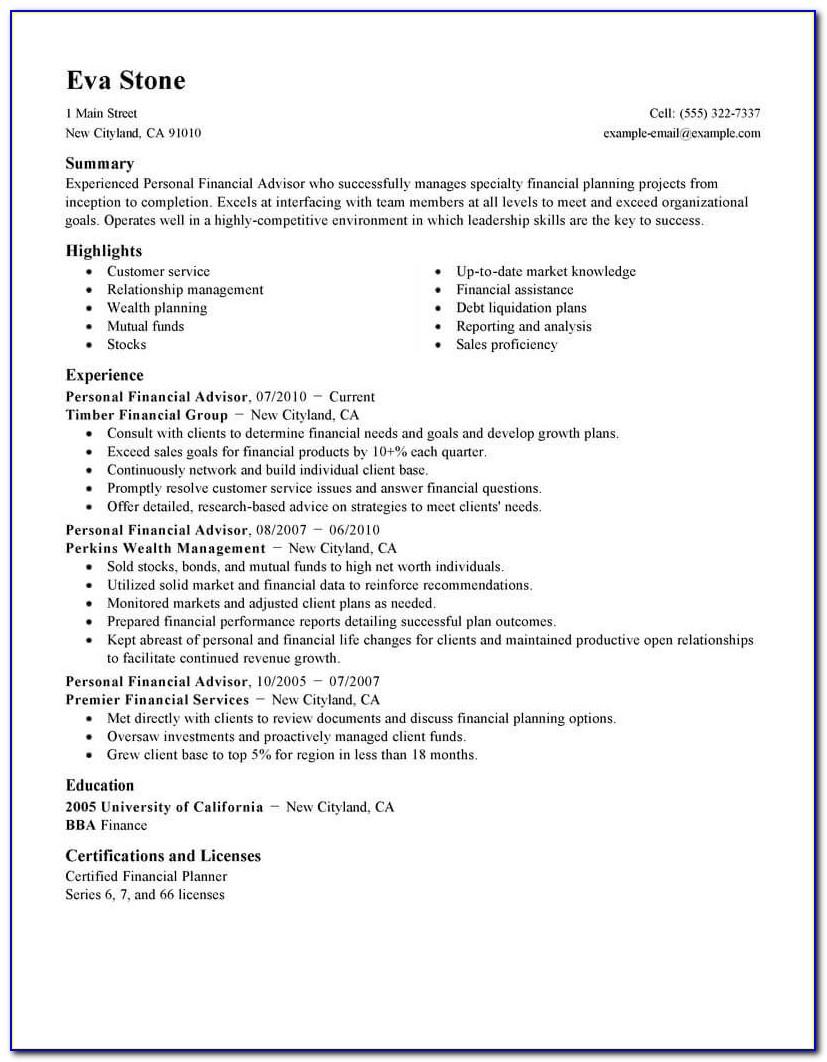 Resume Template Financial Advisor