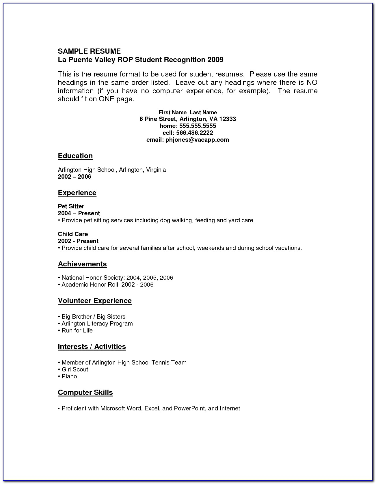 Resume Examples High School Students No Work Experience Template Po0