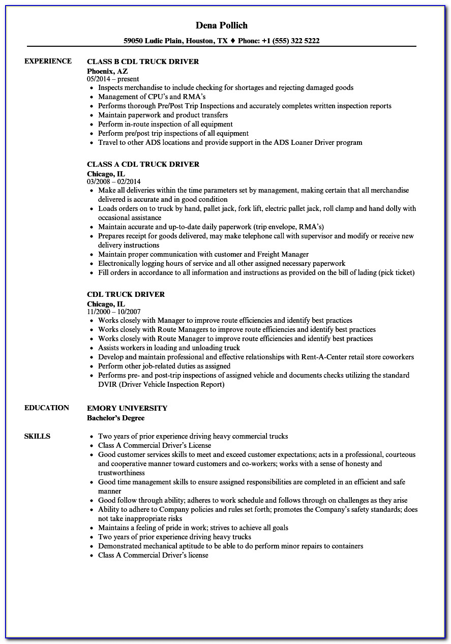 Resume Template For Cdl Truck Driver