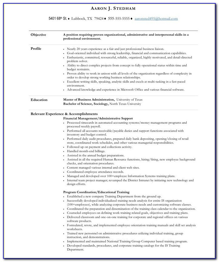 Resume Template For Executive Assistant