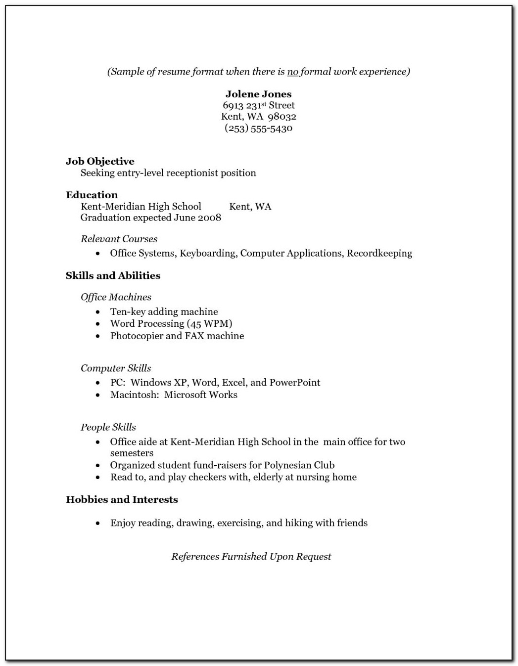 Sample Resume For Students Still In College With No Experience