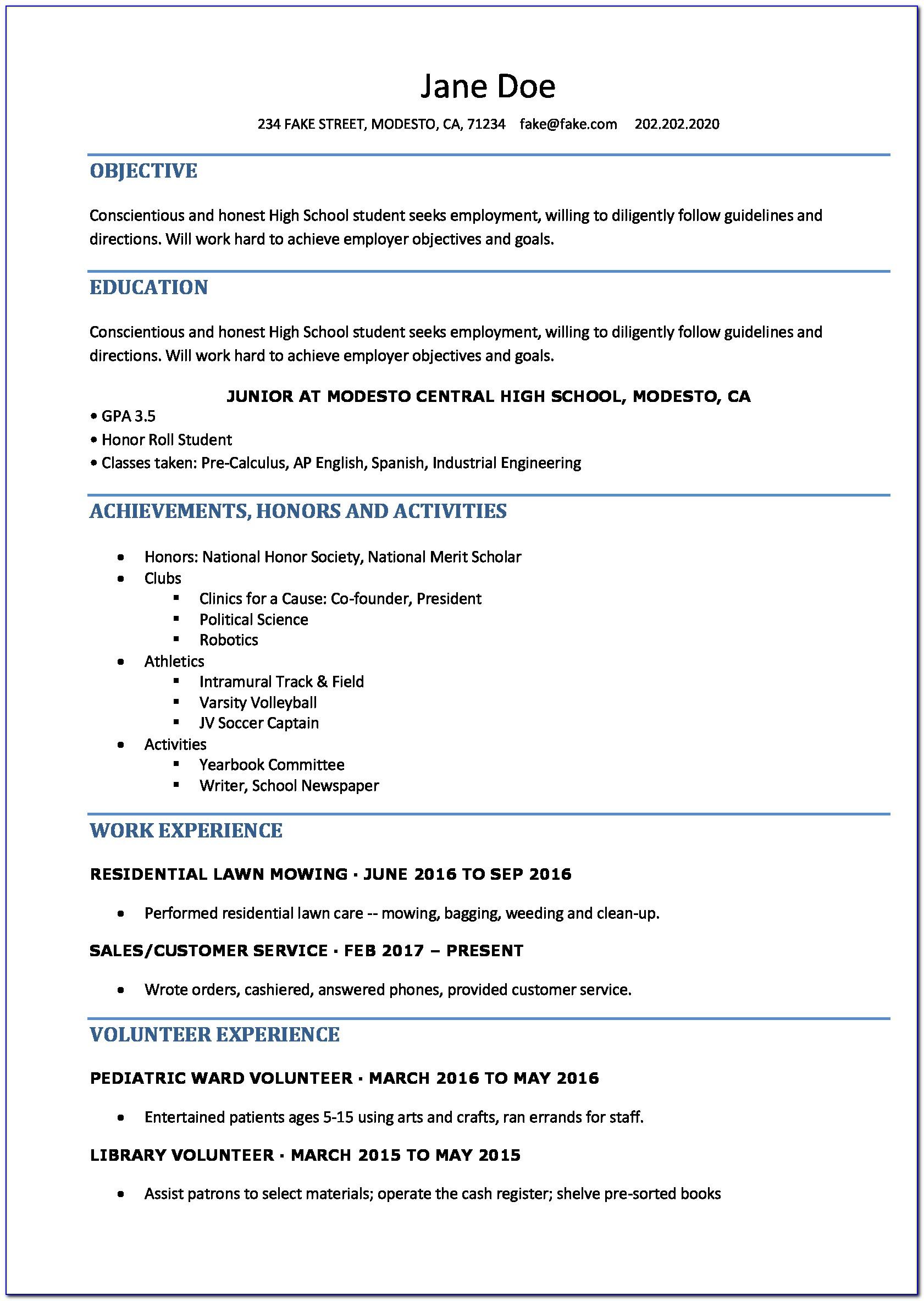 Resume Template For High School Student Internship