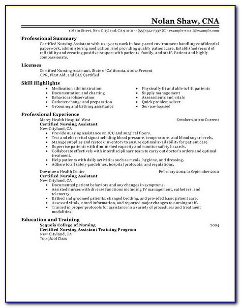 Resume Template For Nursing Aide