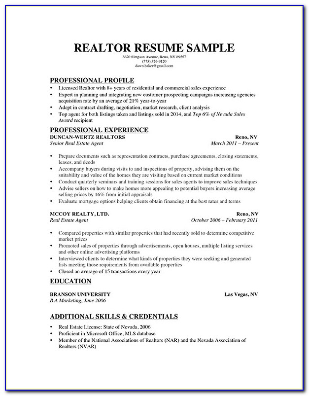 Resume Template For Real Estate Broker