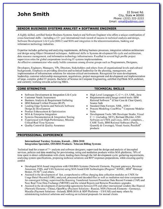 Resume Template Software Architect