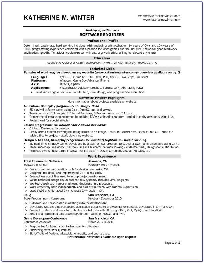 Resume Template Software Developer