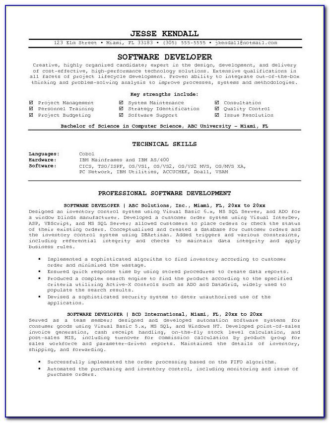 Resume Template Software Engineer Word