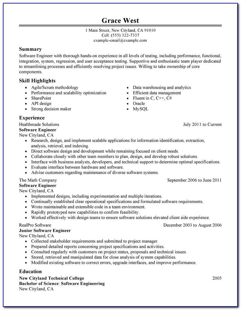 Resume Template Software Engineering