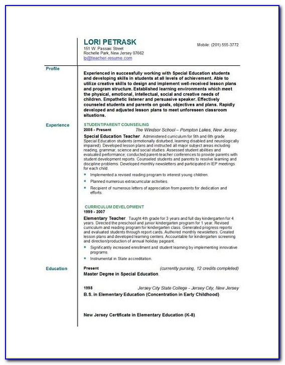 Resume Template Teachers Aide