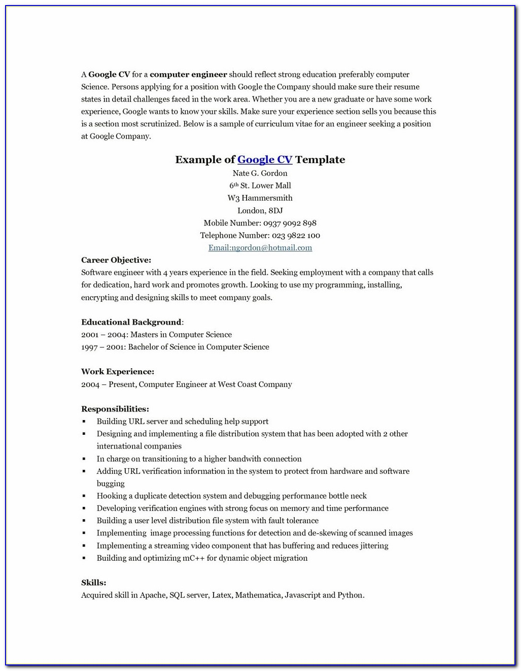 Resume Templates Cover Letter