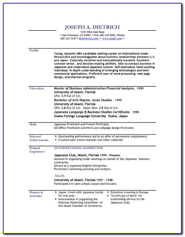 Resume Templates Downloads Free Microsoft Word