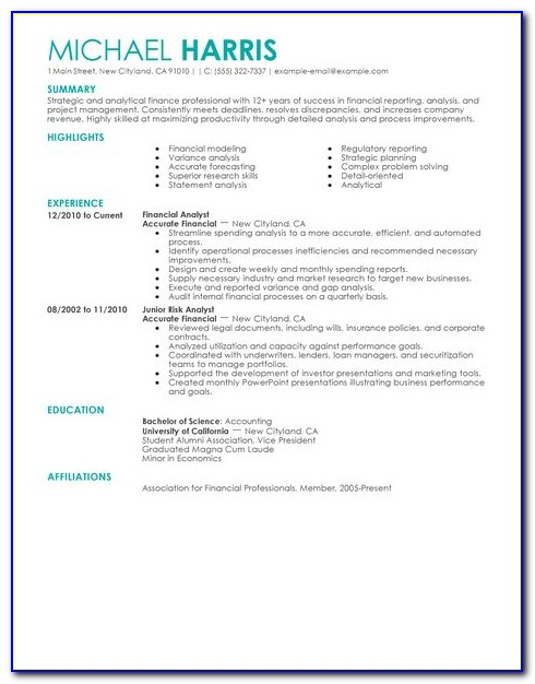 Resume Templates For Accounting And Finance