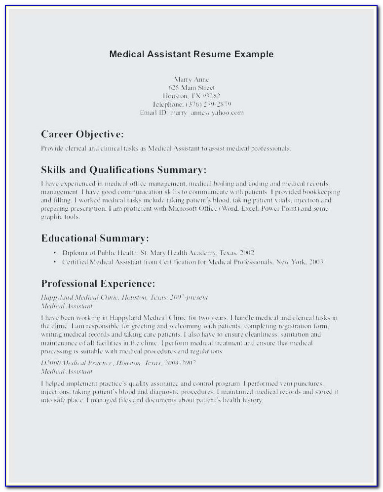 Medical Assistant Sample Resume Entry Level Best Sample Resume Entry Level ? Example Resume Objectives Scholarship