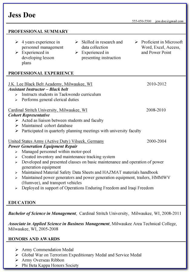 Resume Templates For Military Veterans